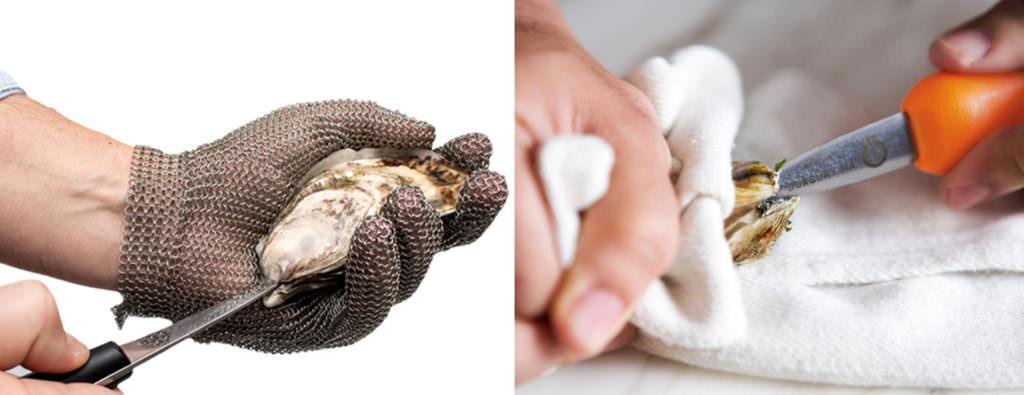 Как открыть устрицу с кольчужной перчаткой или кухонным полотенцем - фото