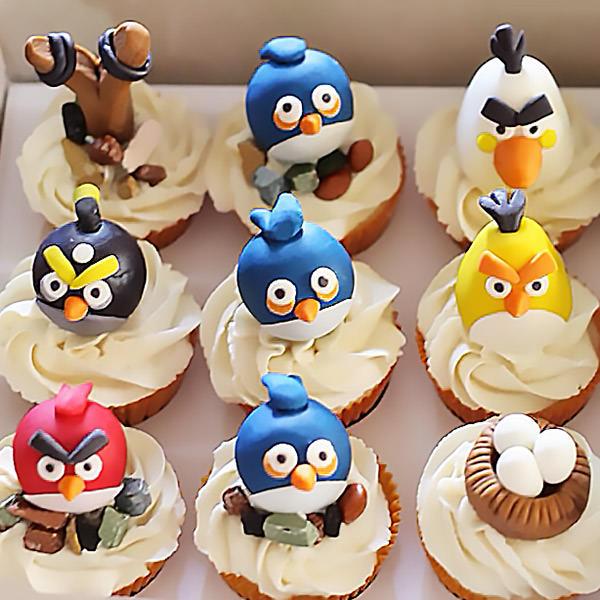 капкейки на заказ Харьков - Капкейки в виде птичек Angry-Birds - фото