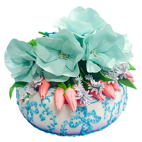 Праздничный торт с цветами в нежных тонах Харьков - фотография